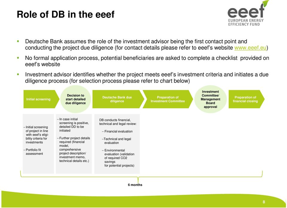 eu) No formal application process, potential beneficiaries are asked to complete a checklist provided on eeef s website Investment advisor identifies whether the project meets eeef s investment