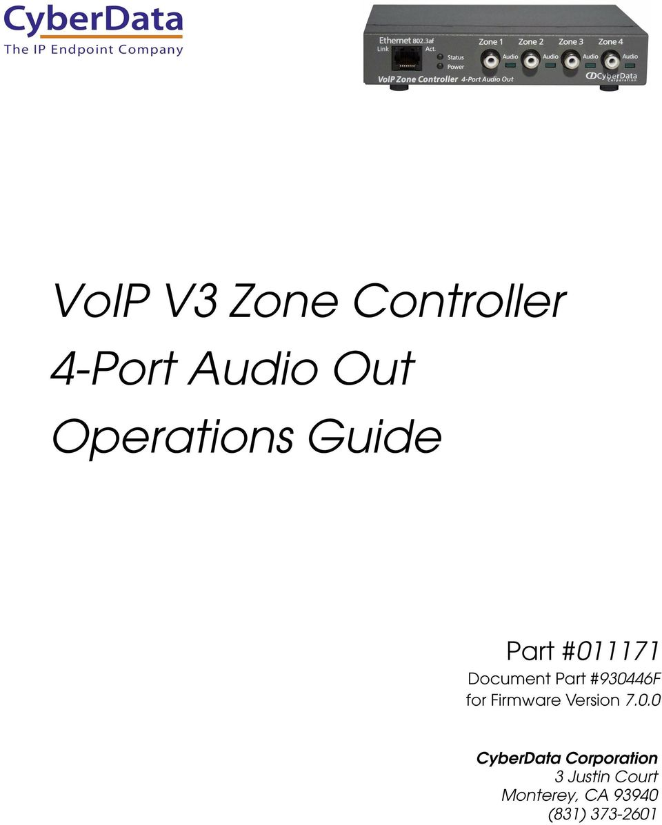 VoIP V3 Zone Controller 4-Port Audio Out Operations Guide - PDF