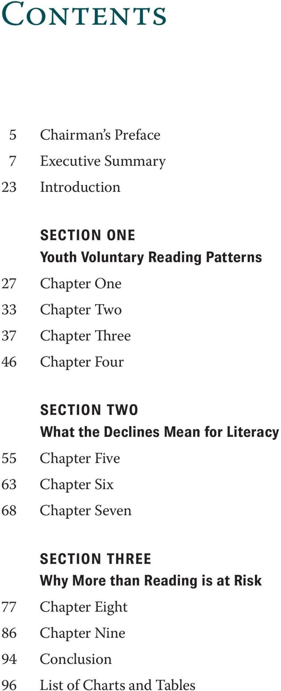 the Declines Mean for Literacy 55 Chapter Five 63 Chapter Six 68 Chapter Seven SECTION THREE Why