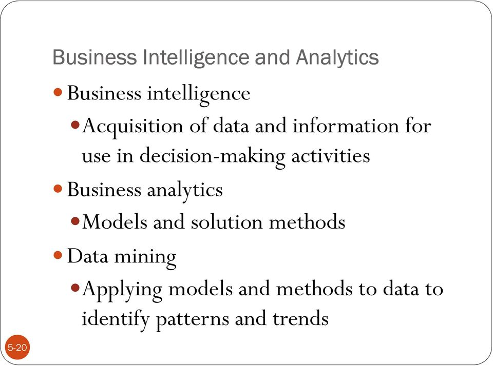 activities Business analytics Models and solution methods Data