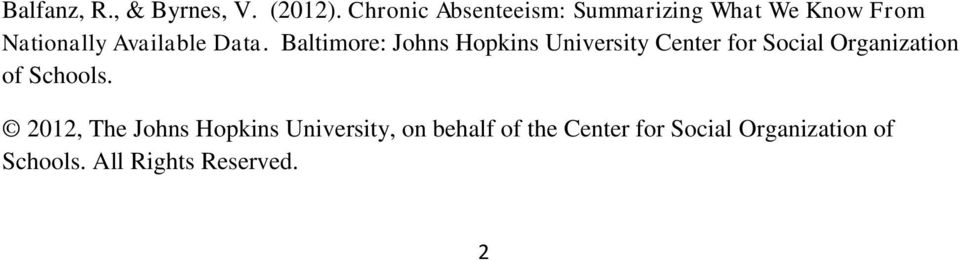 Baltimore: Johns Hopkins University Center for Social Organization of Schools.