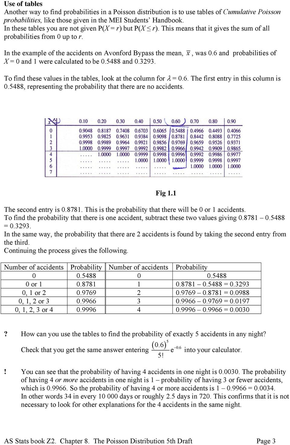 6 and probabilities of X = 0 and 1 were calculated to be 0.5488 and 0.393. To find these values in the tables, look at the column for λ = 0.6. The first entry in this column is 0.