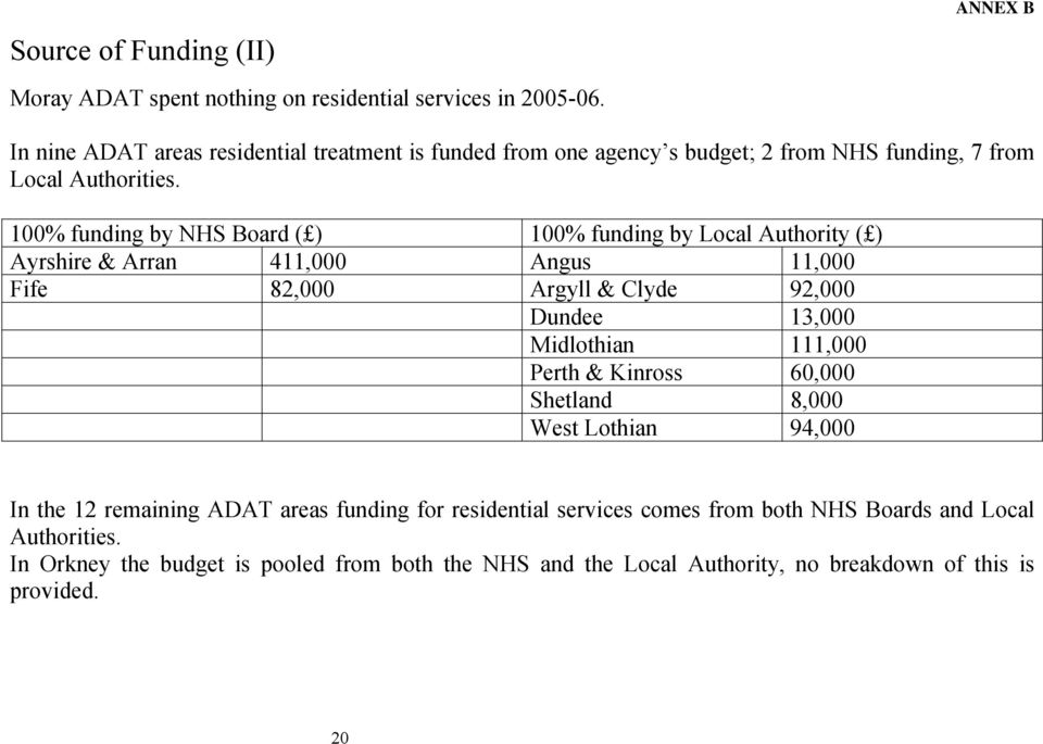 100% funding by NHS Board ( ) 100% funding by Local Authority ( ) Ayrshire & Arran 411,000 Angus 11,000 Fife 82,000 Argyll & Clyde 92,000 Dundee 13,000 Midlothian