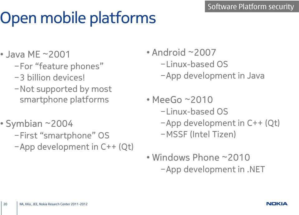 Not supported by most smartphone platforms Symbian ~2004 First smartphone OS App development