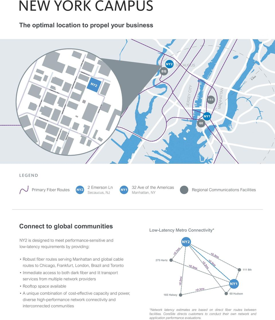 meet performance-sensitive and low-latency requirements by providing: Robust fiber routes serving Manhattan and global cable routes to Chicago, Frankfurt, London, Brazil and Toronto Immediate access