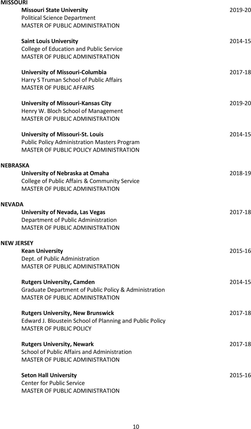 Louis 2014-15 Public Policy Administration Masters Program MASTER OF PUBLIC POLICY ADMINISTRATION NEBRASKA University of Nebraska at Omaha 2018-19 College of Public Affairs & Community Service NEVADA