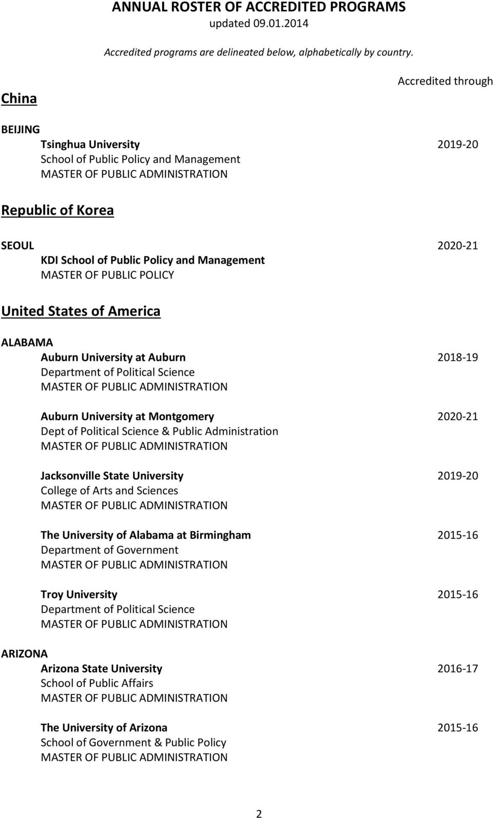 POLICY United States of America ALABAMA Auburn University at Auburn 2018-19 Auburn University at Montgomery 2020-21 Dept of Political Science & Public Administration Jacksonville State University