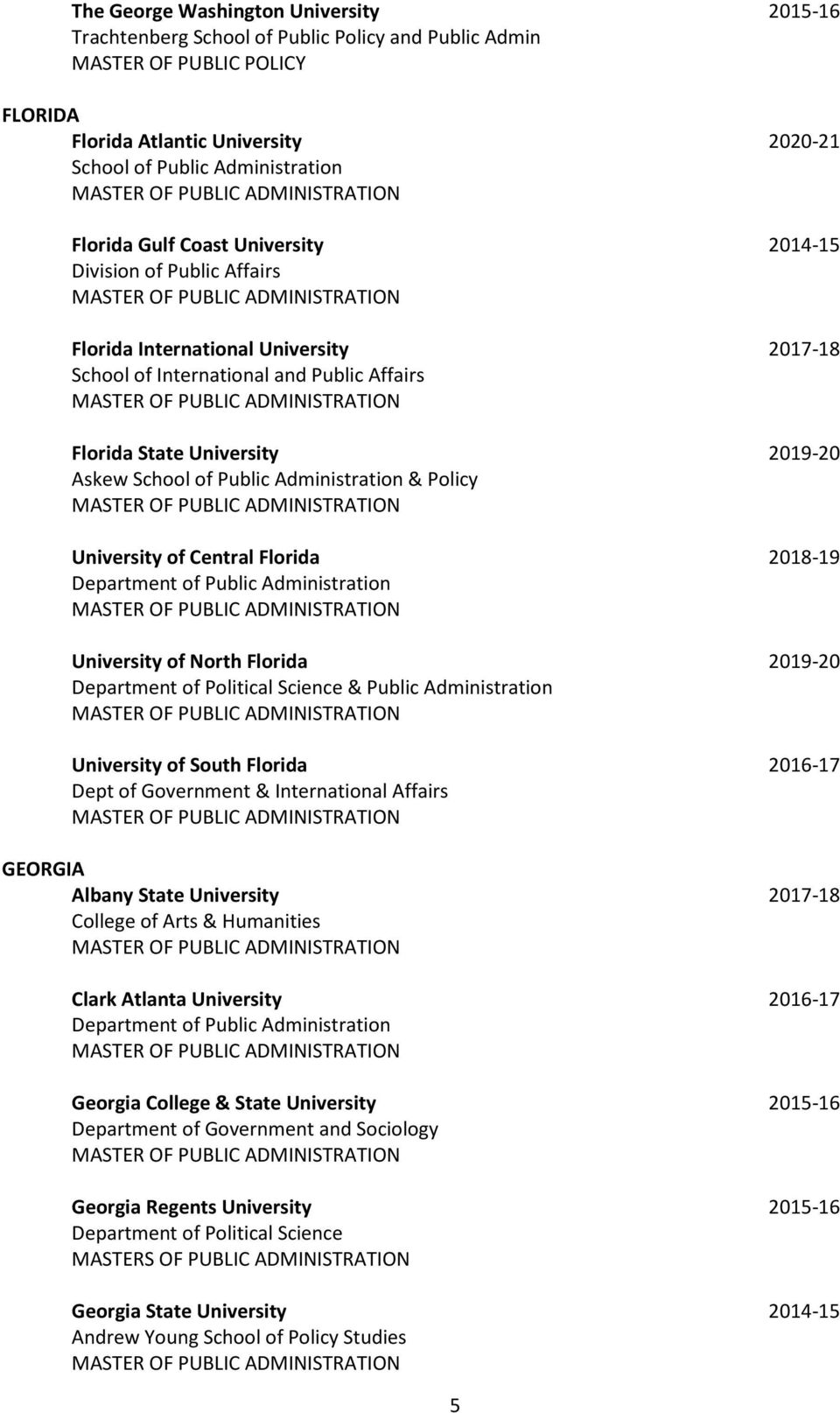 Public Administration & Policy University of Central Florida 2018-19 University of North Florida 2019-20 & Public Administration University of South Florida 2016-17 Dept of Government & International