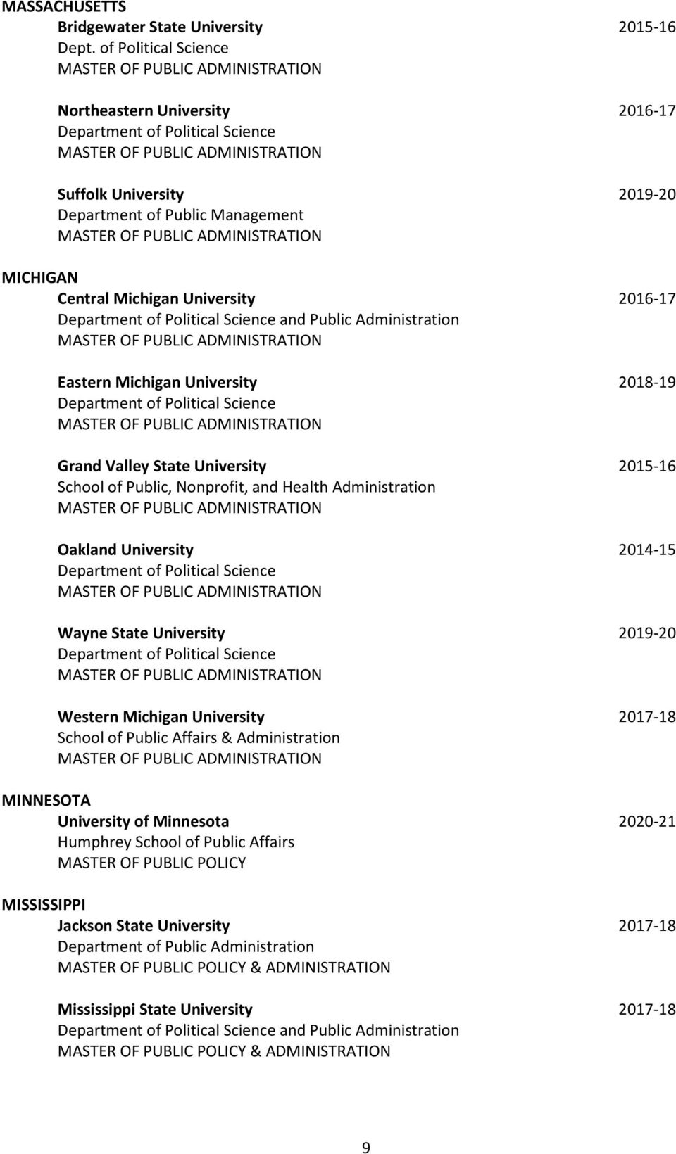 Michigan University 2018-19 Grand Valley State University 2015-16 School of Public, Nonprofit, and Health Administration Oakland University 2014-15 Wayne State University 2019-20 Western Michigan