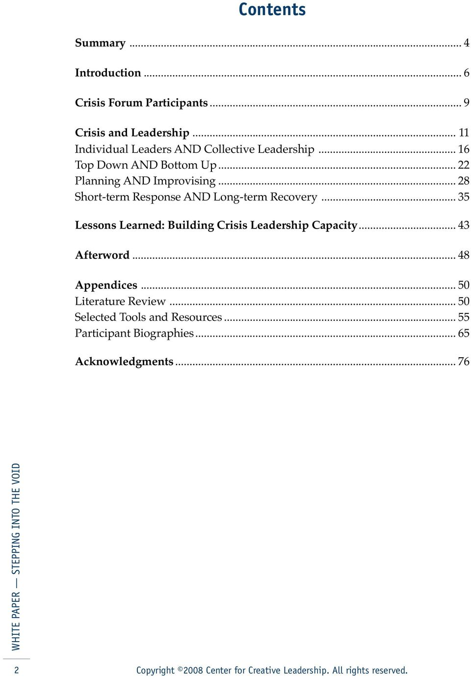 .. 28 Short-term Response AND Long-term Recovery... 35 Lessons Learned: Building Crisis Leadership Capacity.