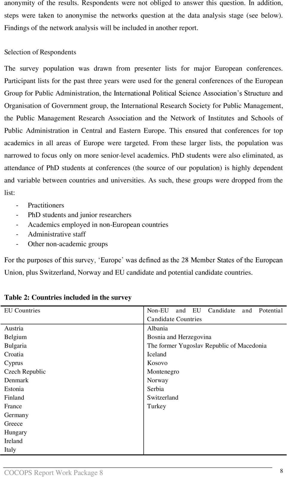 Participant lists for the past three years were used for the general conferences of the European Group for Public Administration, the International Political Science Association s Structure and