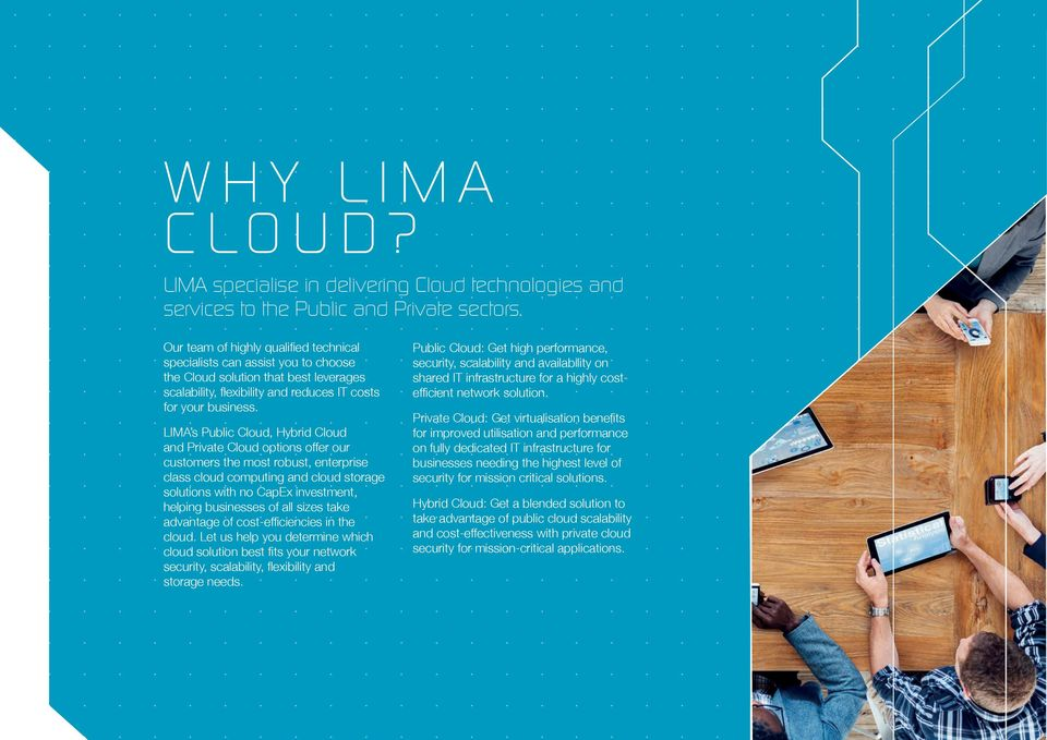 LIMA s Public Cloud, Hybrid Cloud and Private Cloud options offer our customers the most robust, enterprise class cloud computing and cloud storage solutions with no CapEx investment, helping