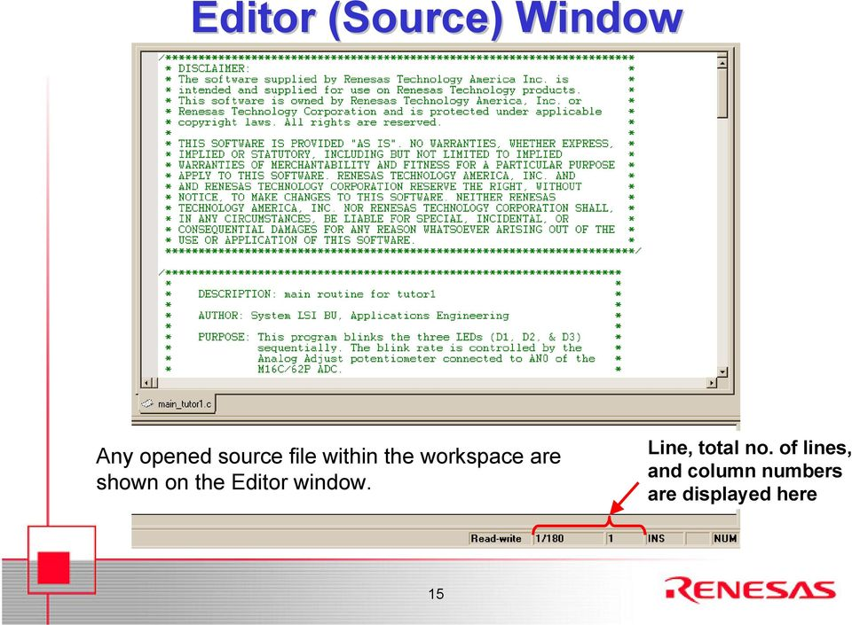 the Editor window. Line, total no.