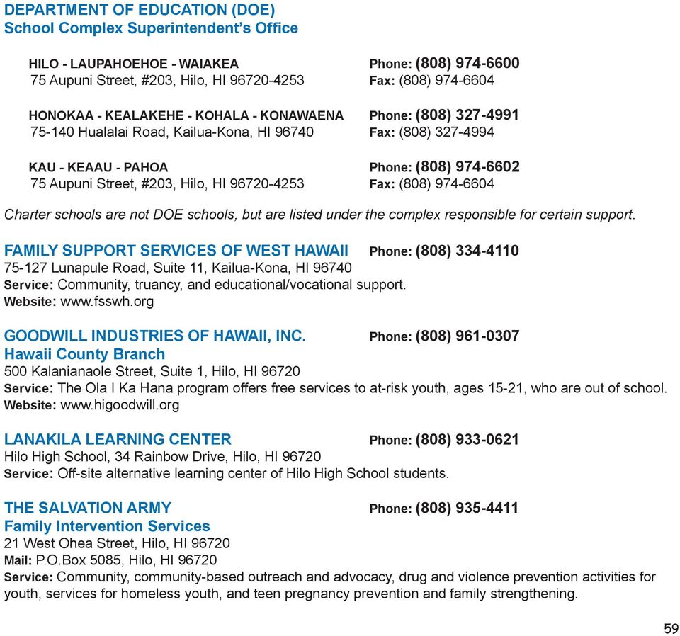 96720-4253 Fax: (808) 974-6604 Charter schools are not DOE schools, but are listed under the complex responsible for certain support.