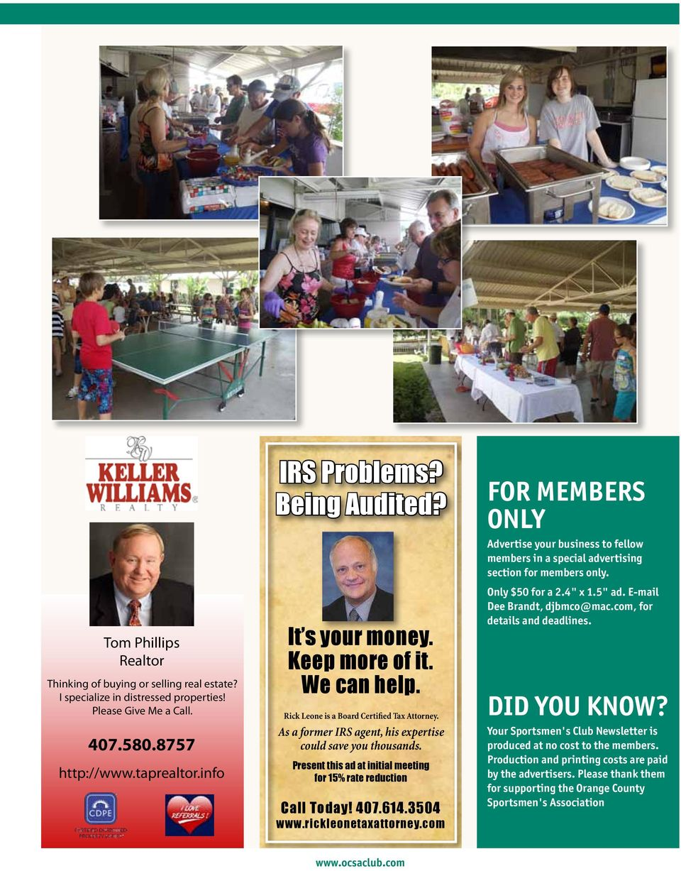 Present this ad at initial meeting for 15% rate reduction Call Today! 407.614.3504 www.rickleonetaxattorney.