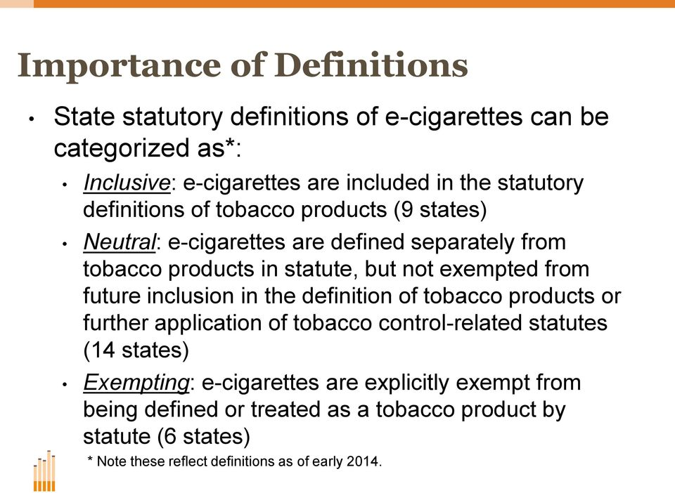 exempted from future inclusion in the definition of tobacco products or further application of tobacco control-related statutes (14 states)