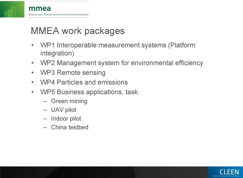 efficiency WP3 Remote sensing WP4 Particles and emissions WP5