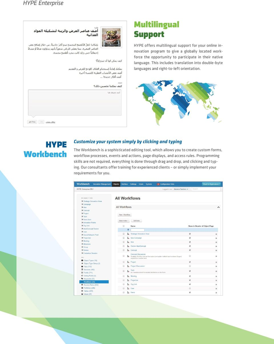 HYPE Workbench Customize your system simply by clicking and typing The Workbench is a sophisticated editing tool, which allows you to create custom forms, workflow processes,