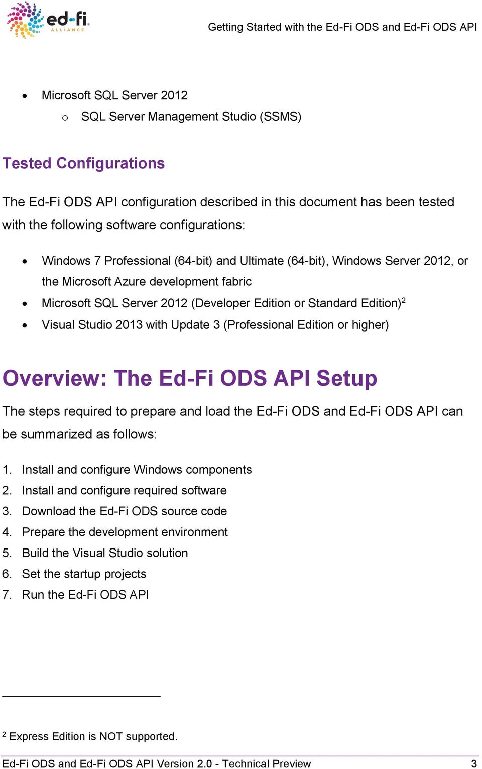 2 Visual Studio 2013 with Update 3 (Professional Edition or higher) Overview: The Ed-Fi ODS API Setup The steps required to prepare and load the Ed-Fi ODS and Ed-Fi ODS API can be summarized as