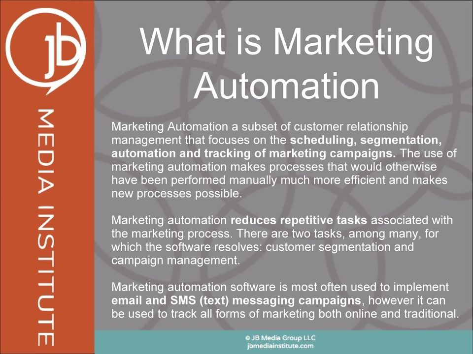 Marketing automation reduces repetitive tasks associated with the marketing process.