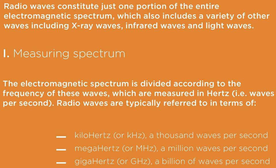 Measuring spectrum The electromagnetic spectrum is divided according to the frequency of these waves, which are measured in Hertz (i.