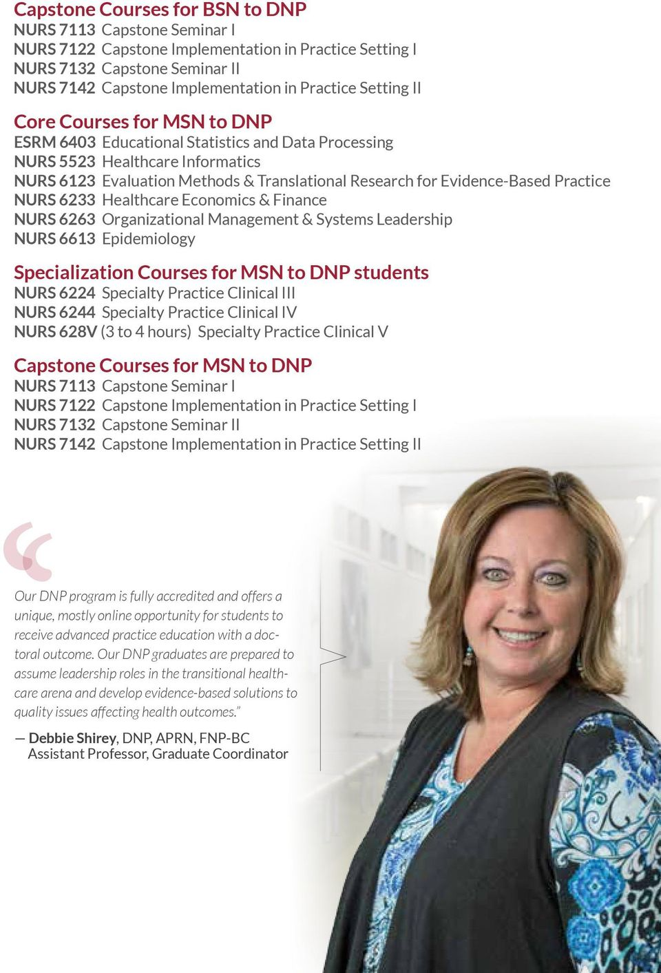 Practice NURS 6233 Healthcare Economics & Finance NURS 6263 Organizational Management & Systems Leadership NURS 6613 Epidemiology Specialization Courses for MSN to DNP students NURS 6224 Specialty