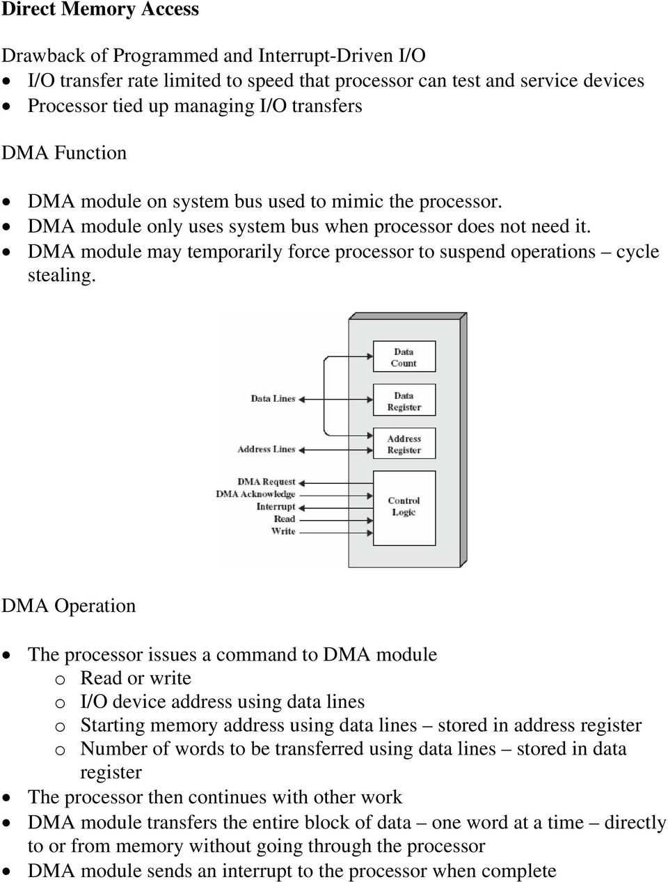 DMA module may temporarily force processor to suspend operations cycle stealing.