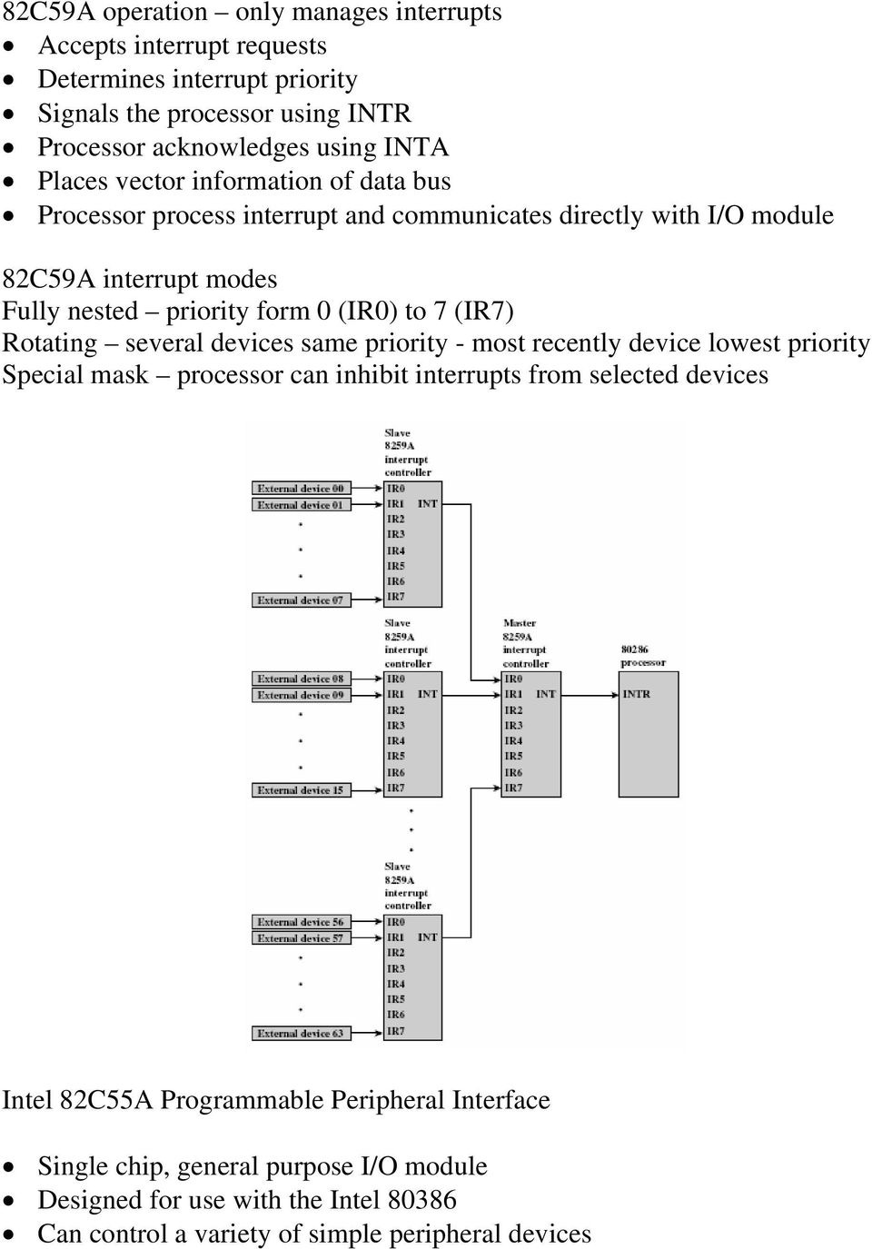 to 7 (IR7) Rotating several devices same priority - most recently device lowest priority Special mask processor can inhibit interrupts from selected devices Intel