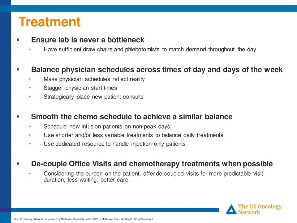 Schedule new infusion patients on non-peak days Use shorter and/or less variable treatments to balance daily treatments Use dedicated resource to handle injection only patients