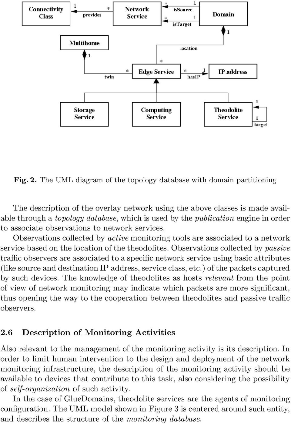 publication engine in order to associate observations to network services.