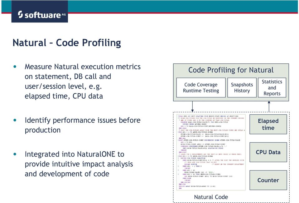 elapsed time, CPU data Code Profiling for Natural Code Coverage Runtime Testing Snapshots History