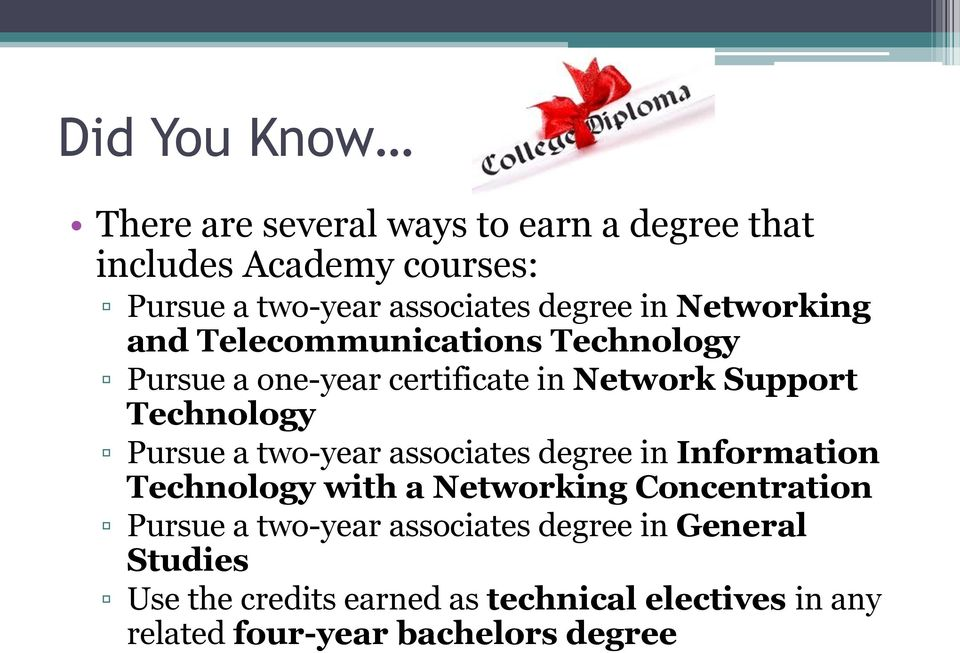 a two-year associates degree in Information Technology with a Networking Concentration Pursue a two-year