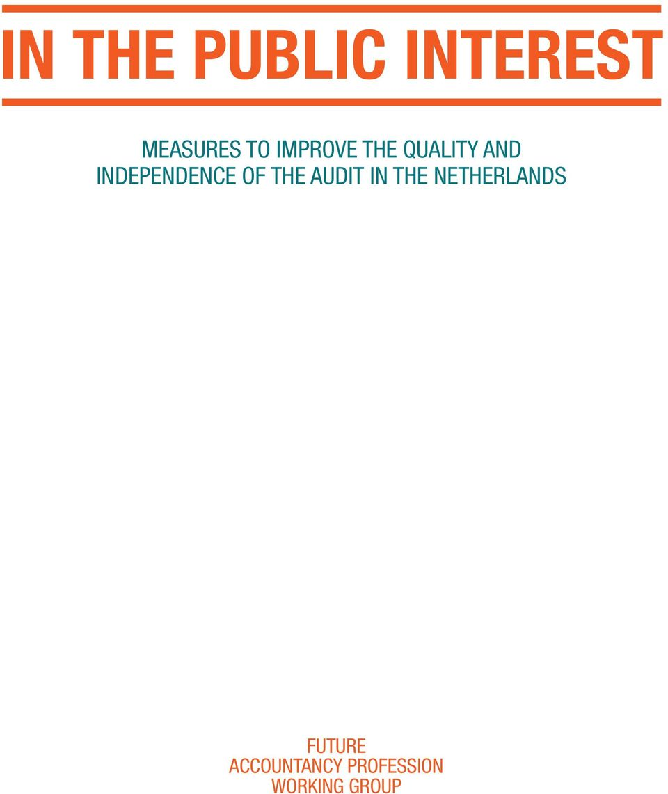 OF THE AUDIT IN THE NETHERLANDS