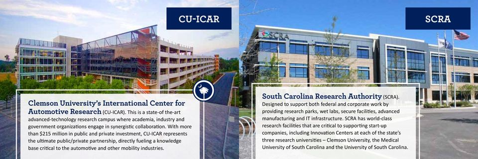 With more than $215 million in public and private investment, CU-ICAR represents the ultimate public/private partnership, directly fueling a knowledge base critical to the automotive and other