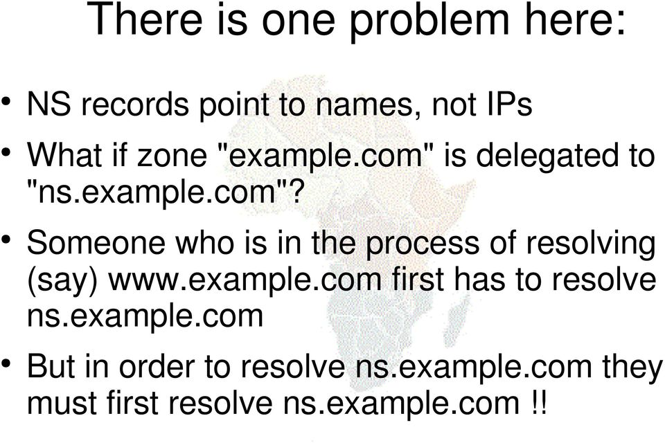 example.com first has to resolve ns.example.com But in order to resolve ns.