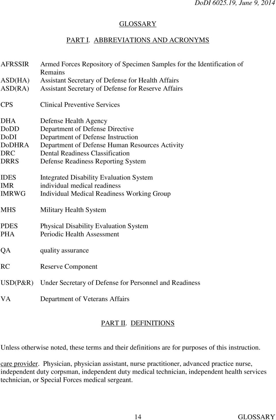 Assistant Secretary of Defense for Health Affairs Assistant Secretary of Defense for Reserve Affairs Clinical Preventive Services Defense Health Agency Department of Defense Directive Department of
