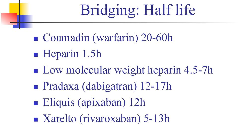 5h n Low molecular weight heparin 4.