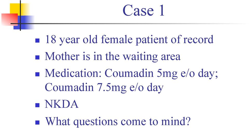 Medication: Coumadin 5mg e/o day; Coumadin
