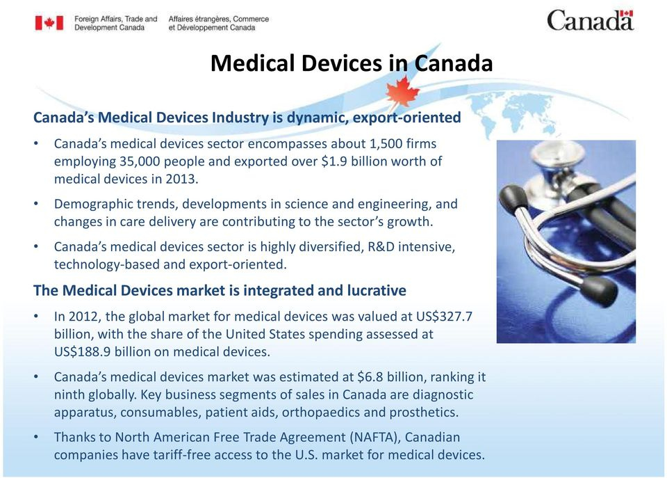 Canada s medical devices sector is highly diversified, R&D intensive, technology-based and export-oriented.