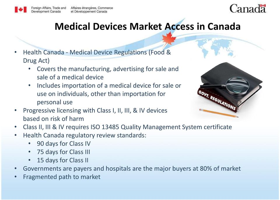 II, III, & IV devices based on risk of harm Class II, III & IV requires ISO 13485 Quality Management System certificate Health Canada regulatory review standards: