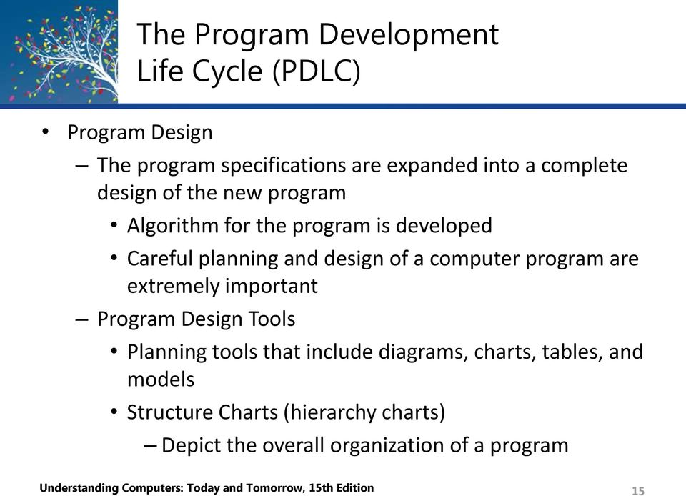 extremely important Program Design Tools Planning tools that include diagrams, charts, tables, and models Structure