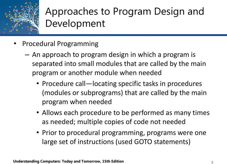 are called by the main program when needed Allows each procedure to be performed as many times as needed; multiple copies of code not needed Prior to