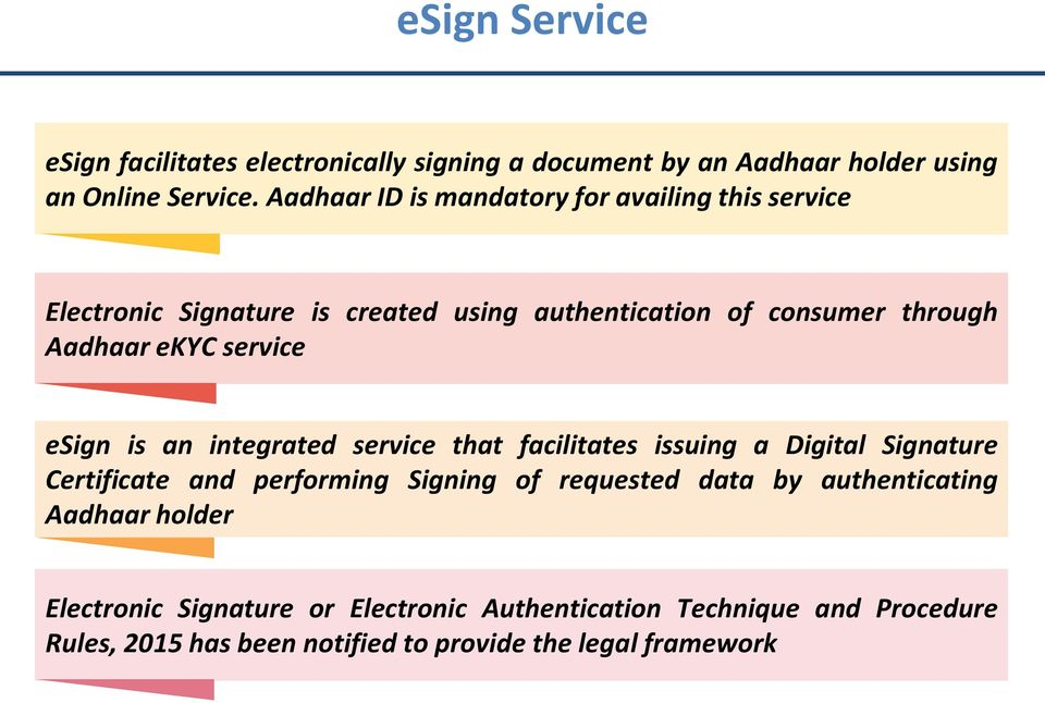 service esign is an integrated service that facilitates issuing a Digital Signature Certificate and performing Signing of requested data