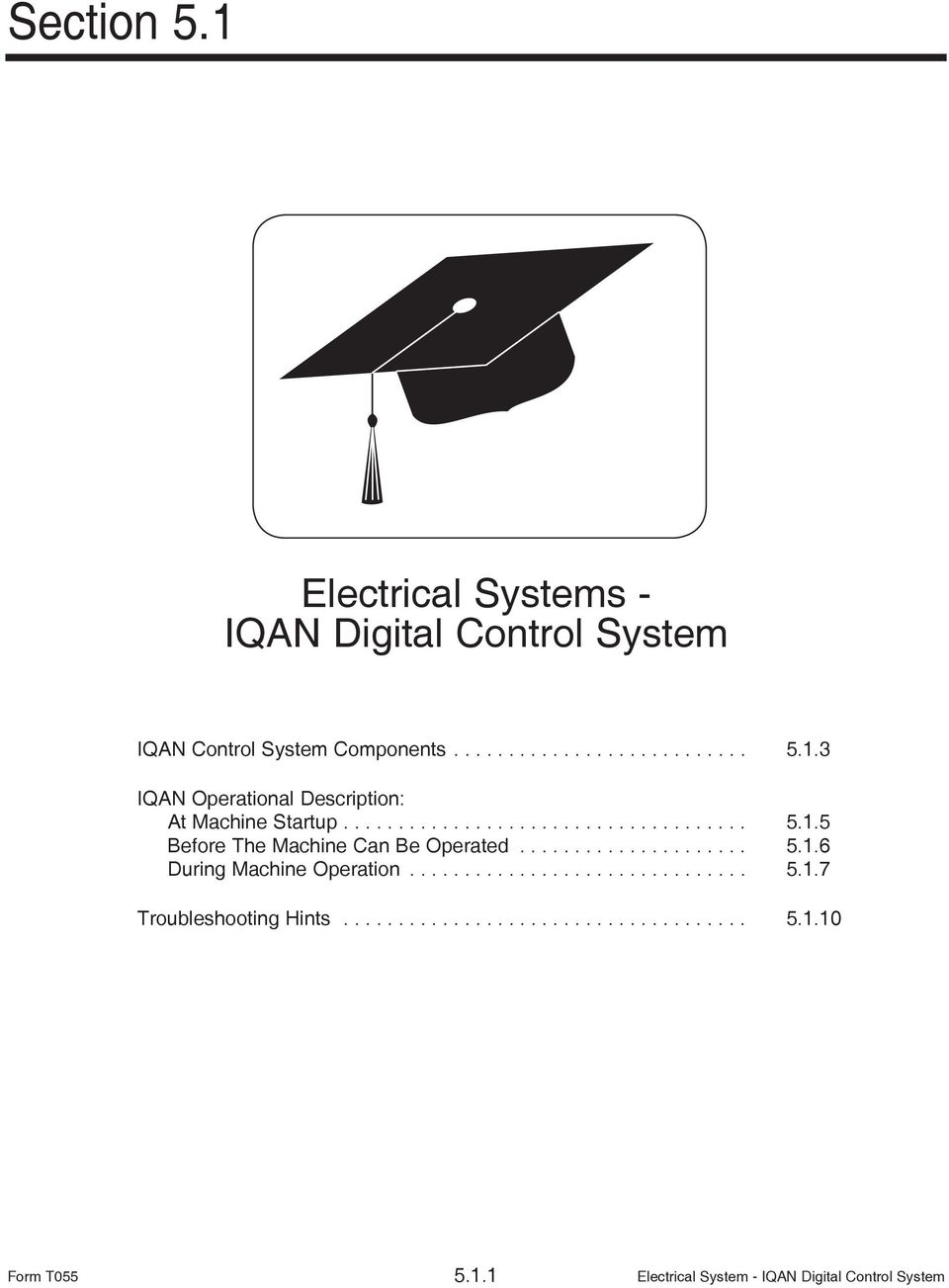 .............................. 5.1.7 Troubleshooting Hints..................................... 5.1.10 Form T055 5.1.1 Electrical System - IQAN Digital Control System