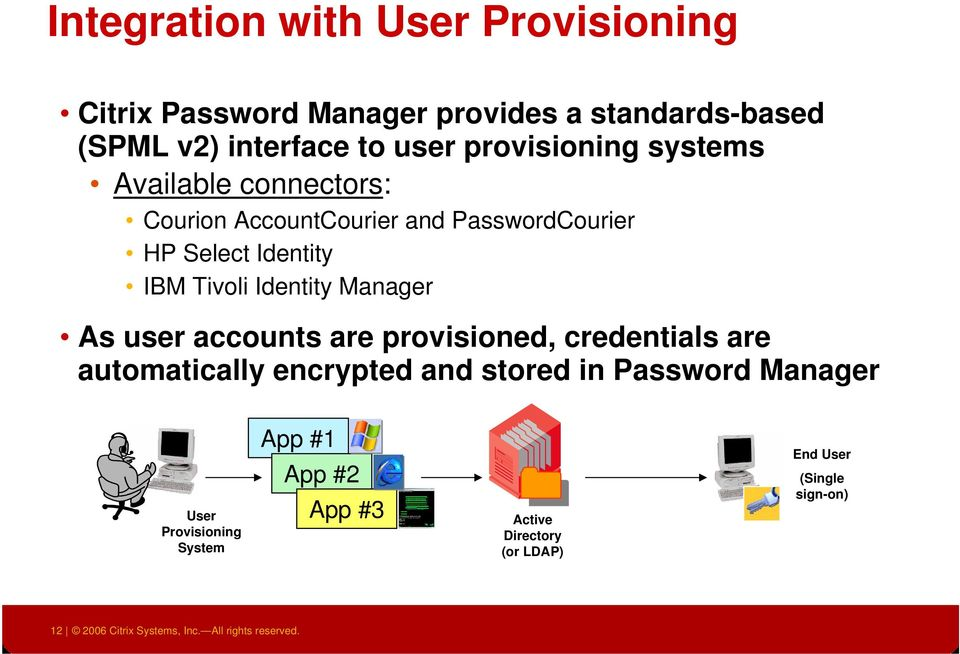 Manager As user accounts are provisioned, credentials are automatically encrypted and stored in Password Manager User