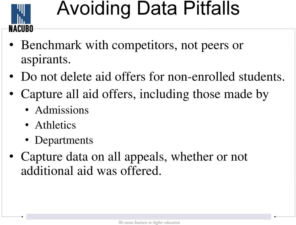 Capture all aid offers, including those made by Admissions Athletics