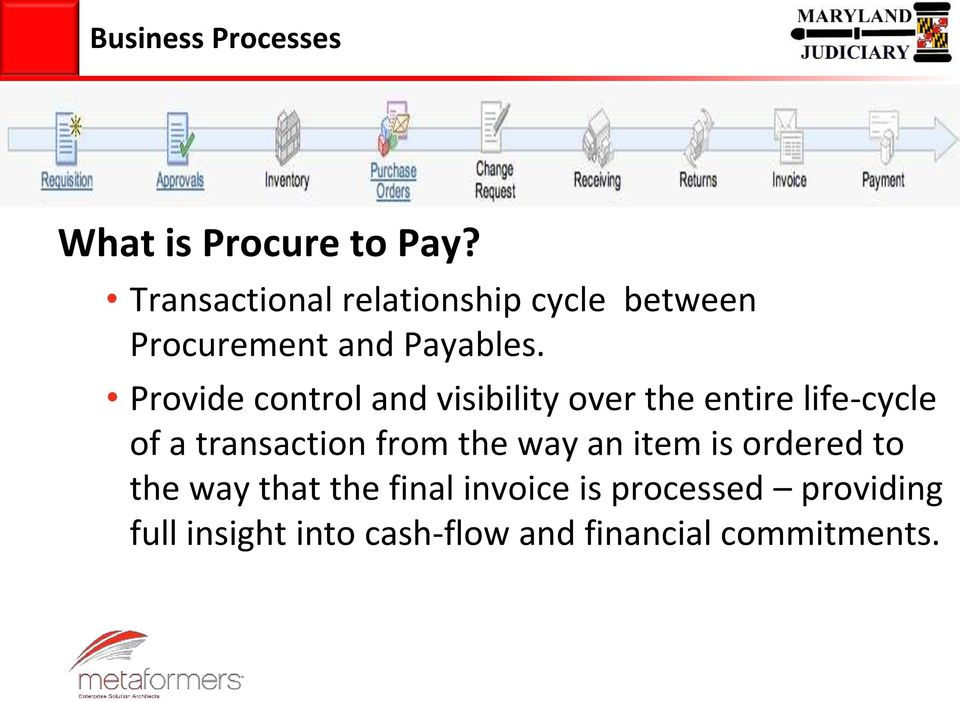 Provide control and visibility over the entire life-cycle of a transaction from