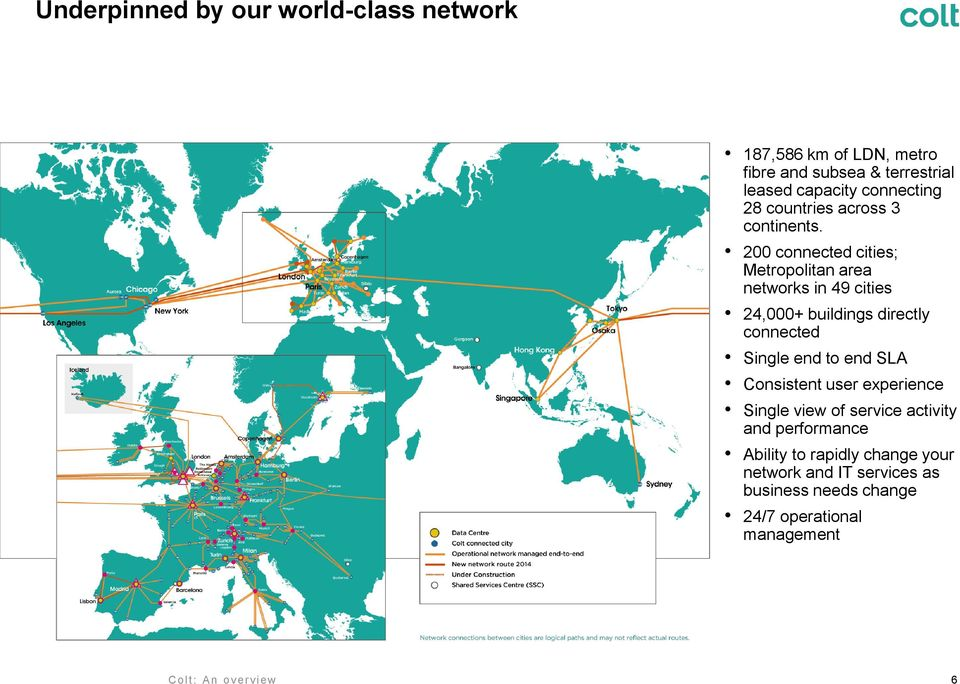 200 connected cities; Metropolitan area networks in 49 cities 24,000+ buildings directly connected Single end to end