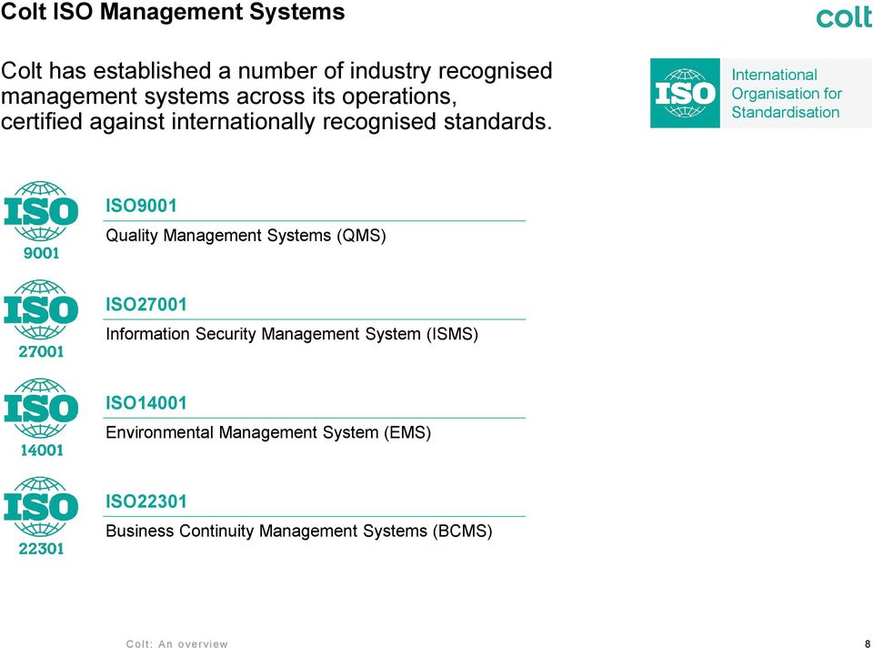International Organisation for Standardisation ISO9001 Quality Management Systems (QMS) ISO27001 Information