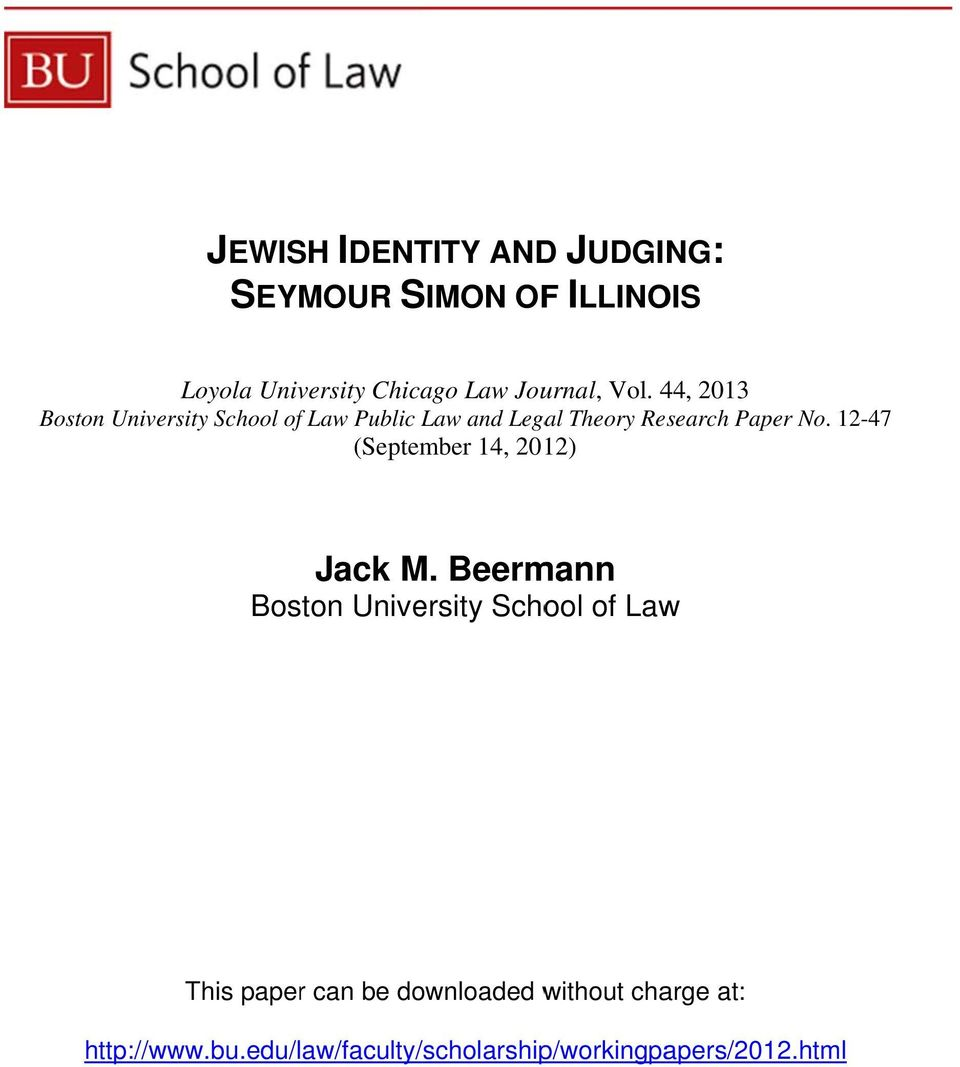 44, 2013 Boston University School of Law Public Law and Legal Theory Research Paper No.